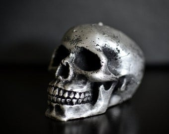 Handmade Skull Candle Black Silver