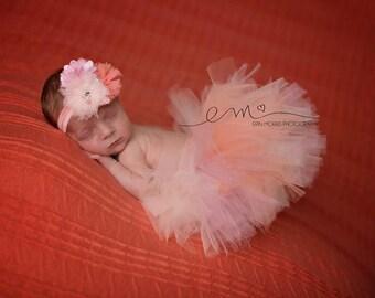 Newborn tutu set, baby tutu set, peach tutu set, newborn photo prop, photo prop, birthday tutu set, newborn tutu set, newborn tutu, baby
