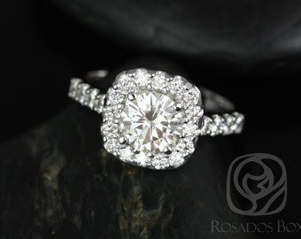 Rosados Box Trisha 6.5mm 14kt White Gold Round F1- Moissanite and Diamonds Cushion Halo Engagement Ring