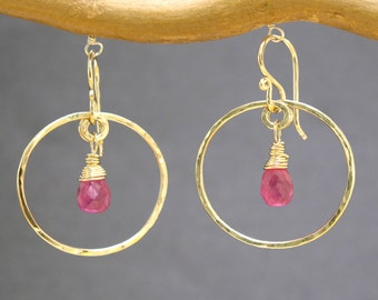 Small hammered hoops with your choice of A-grade stone Siren 120
