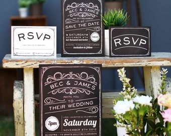 Chalkboard Wedding Invitations Vintage Rustic Black and White Stationery Flourishes Sail and Swan