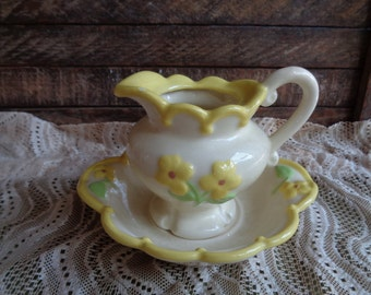 Small Vintage Pitcher and Underplate Ceramic Handmade Cream and Yellow Colors Cottage Shabby Romantic Victorian Decor Vanity