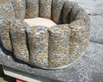 Cat bed, leopard bed, small dog bed, kitty bed, deep bed, round bed, cup bed, pet bed, puppy bed, cheetah bed, machine washable, dryer safe