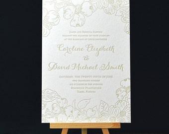 Dogwood Letterpress Invitation Suite DEPOSIT