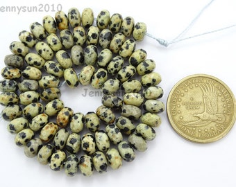 Natural Dalmation Spot Gemstones 5mm x 8mm Faceted Rondelle Spacer Loose Beads 15'' Strand Jewelry Design