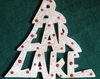 Bear Lake, handcrafted tree shaped ornament