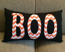 "Halloween pillow in black with orange chevron ""Boo""  - Boo Halloween Pillow"