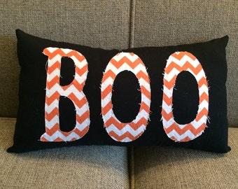 "Halloween pillow in black with orange chevron ""Boo""  - Boo Halloween Pillow"