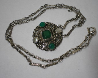 Antique 800 Silver Arts and Craft Jugendstil Gustav Hauber Chrysoprase Pearl Necklace 15.7 Inches