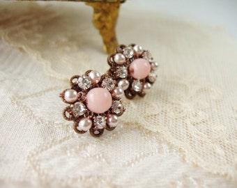 Pale Pink Rhinestone Earrings. Feminine Crystal Studs. Romantic Rhinestone Jewelry. Angel Coral Pink Beads. Handmade Unique Gift Jane Austen