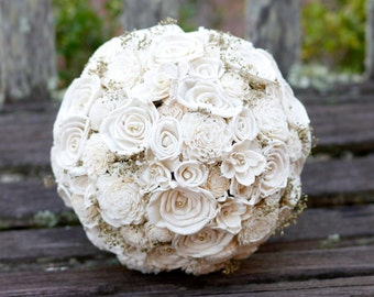 Large Natural Sola Bridal Bouquet with Gold Baby's breath Gold Pearls Sola Roses Sola Gardenias Elegant Wedding Bouquet Natural Sola Bouquet