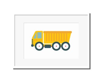 Nursery decor, Modern truck print, modern nursery art, kids room art, nursery art, truck print, truck print, yellow dump truck, dump truck