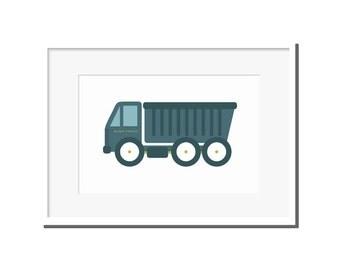 Nursery print, modern nursery art, kids room art, nursery art, truck print, nursery decor, blue dump truck, dump truck, blue truck, blue art