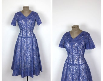 50s Light Blue Lace Fit and Flare Party Dress • 1950s Cocktail Dress with Full Skirt • Sheer Short Sleeve Prom Dress • Medium • Large