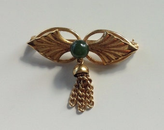 Vintage Wells Jade and gold tasseled pin brooch