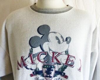 vintage 90's Mickey Mouse Walt Disney cartoon print white heather grey reverse fleece graphic sweatshirt striped crewneck pullover jumper XL