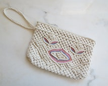 SALE / was 19.00/ 70s macrame clutch / vintage clutch purse