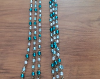 Vintage 3 strand moonstone bead necklace in white and turquoise