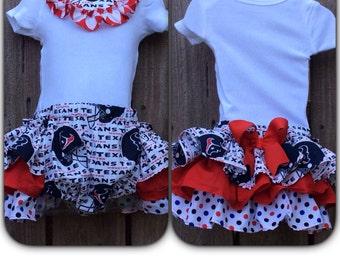 Houston Texans Ruffle Bib onesie/Diaper Cover set