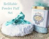 REFILLABLE Powder Puff SET (puff and powder refills + funnel + gift box) Aqua Satin