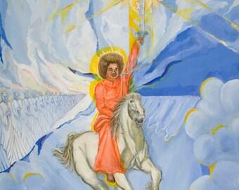 GICLEE PRINT Sathya Sai Baba Kalki Avatar (Canvas Print)
