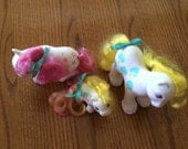 Vintage My Little Pony Apple Delight famil Mommy, Daddy and baby.. May have original curls