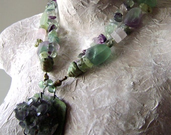 The Fluorite Cave, natural stone necklace, mineral specimen, phrenite beads, matte stone beads, statement assemblage jewelry, AnvilArtifacts