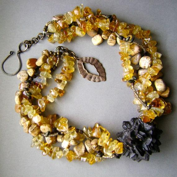 Desert Sun, multi strand gemstone, necklace, handmade,Pseudomorph After Marcasite, Citrine Nugget, Jasper, citrine gemstone, AnvilArtifacts