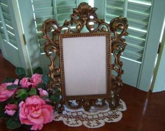 Vintage picture frame easel back frame brass frame antique gold frame 5x7 picture frame baroque frame wedding frame