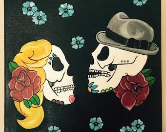 Sugar Skull Couple Acrylic on Canvas 12x12