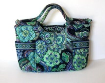 SALE, Vintage Vera Bradley French Country fabric purse, Blue and Turquoise Green handbag,  Women's Accessory, gift idea