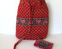 2 Vintage Vera Bradley French Country collectibles, fabric backpack and ID case, red paisley, Women's Accessory, gift idea