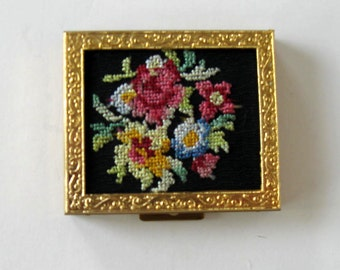 Vintage Saks Fifth Ave vintage Floral tapestry compact, embroidery, mirror, black and gold, vanity decor, Woman's purse accessory, gift idea