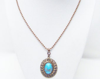 Oval Turquoise Cabochon on Lace Brass TRANQUILITY Pendant Necklace
