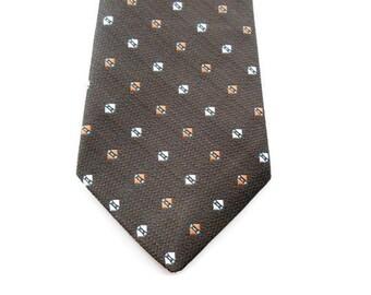 "70s Mens Necktie - 3 1/8"" - Dark Brown With Patterned Dots in White and Brick Red - Mens Necktie Ties - Men's Brown Tie - Foulard Narrow Tie"