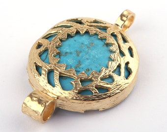 Turquoise, Fretwork Connector, 22k Gold Plated, 27mm, 1 piece // GC-374
