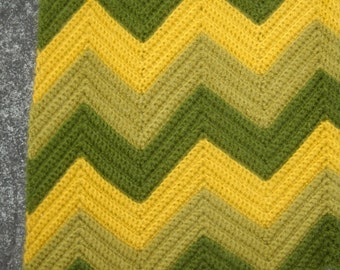 Vintage Crocheted Afghan or Throw, Beautiful Avocado Green and Mustard, Classic Chevron Pattern