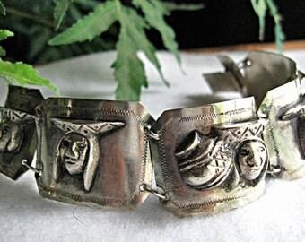 Peru Sterling Folklore Bracelet, Dimensional Face Glyphs, South American Theme Links, Inca Panels Native Images, 46 Grams Silver