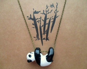 Hanging Panda Necklace, Polymer Clay Necklace, Black and White, Animal Lover, Bear, Cute, Animal Jewellery