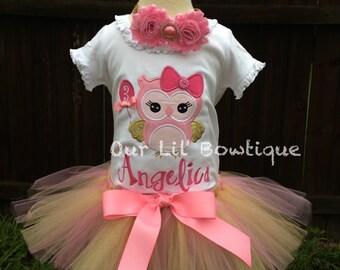 Owl Birthday Shirt- Personalized Birthday Shirt - Personalized Owl -Birthday Outfit - Tutu - Pink and Gold - 1st Birthday Outfit