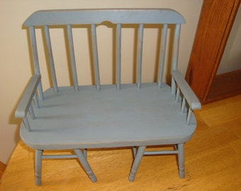 Vintage Wood Double Doll Bench Seating Chair Blue Gray