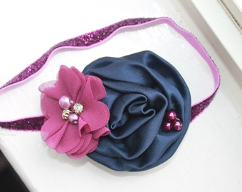 Plum and Navy Blue Baby headband, plum headband, Navy headband, Flower headband, Newborn Headband, Baby Flower Headband, Photography Prop