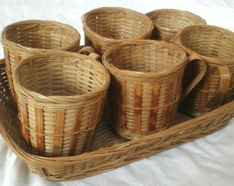 Midcentury wicker basket and cup set people's republic of China