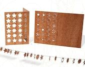 postcard wood - 24 stars/adventcalender 3 cards