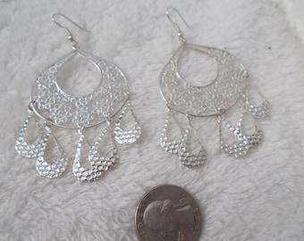 Vintage Retro Pierced Earrings-Silvertoned Dangles-R3915