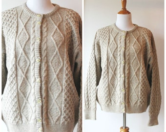 Women's light brown wool knit cardigan