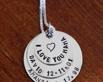 Name Date Layered Mother's Necklace- Grandmother's Jewelry- Mother of Three Necklace- Push Present