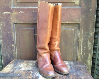 Leather Riding Boots Vintage 60s 70s Sienna Brown Knee High Campus Boots ~ Size 7.5 US