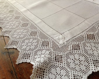 French Heirloom Lace Table Runner, Handworked Lace Edge White Linen