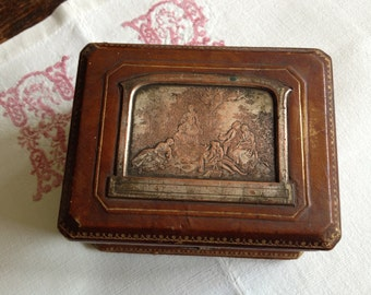 Antique French Leather Travel Case ~  Trinket Jewelry Box
